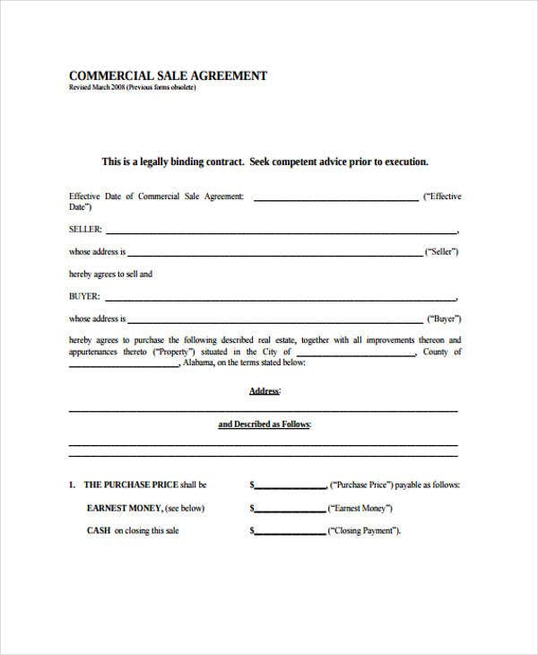 commercial agreement of sale