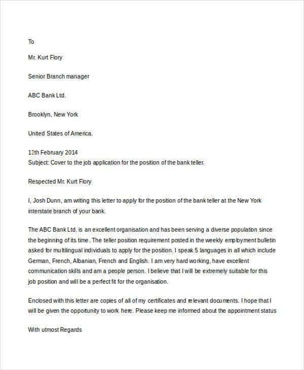 commercial banking - Cover Letter For Bank Teller Position