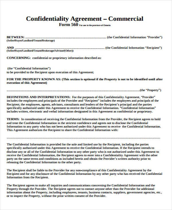 Commercial Agreement Templates  Free Sample Example Format