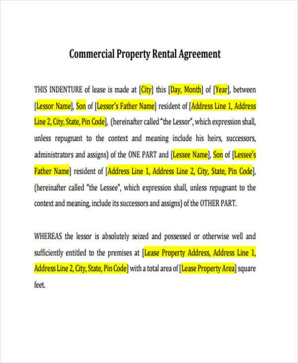 commercial rental agreement1