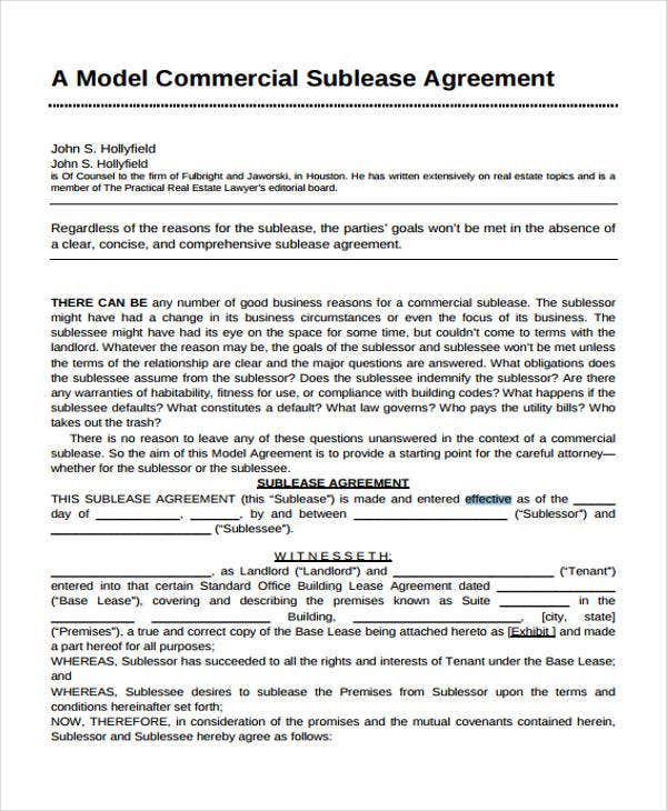 Commercial Agreement Templates   Free Word Pdf Format Download
