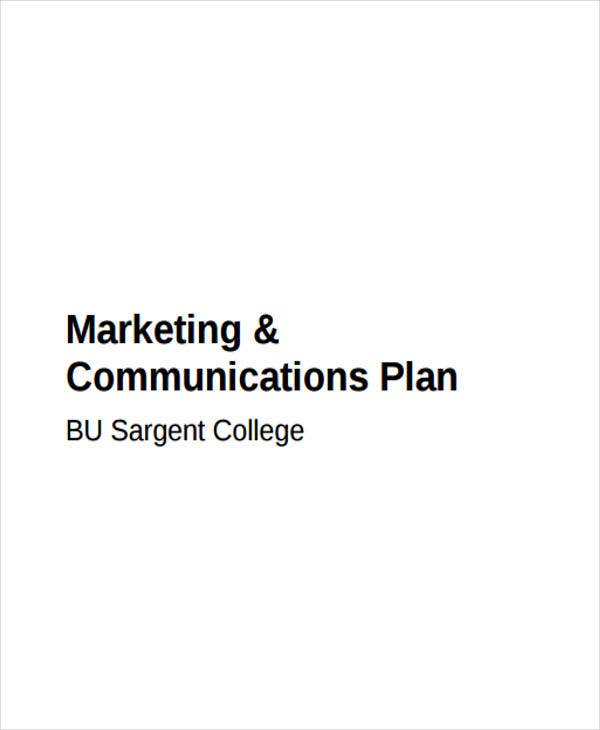 communication plan for marketing