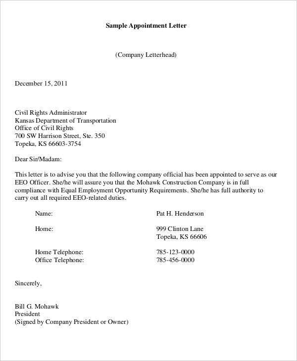 official appointment letter templates