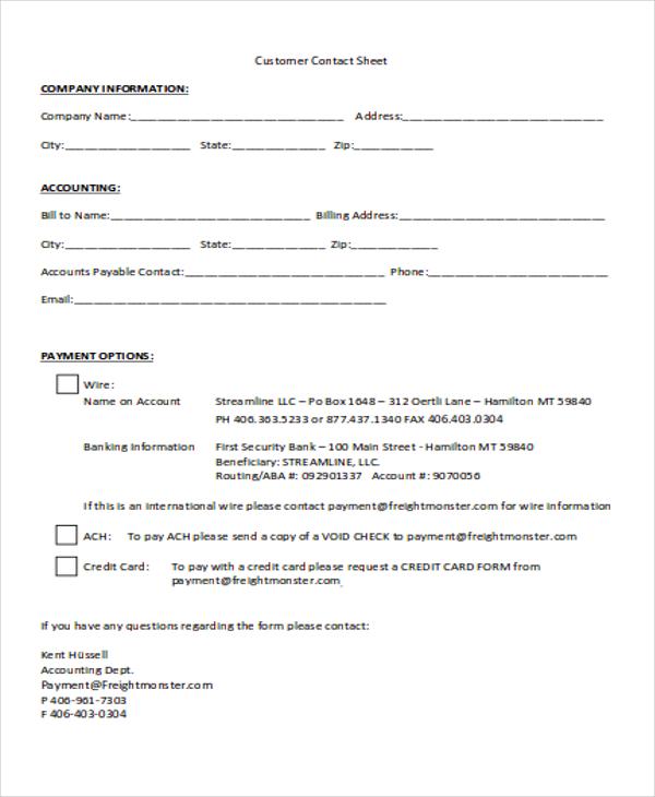 customer contact sheet
