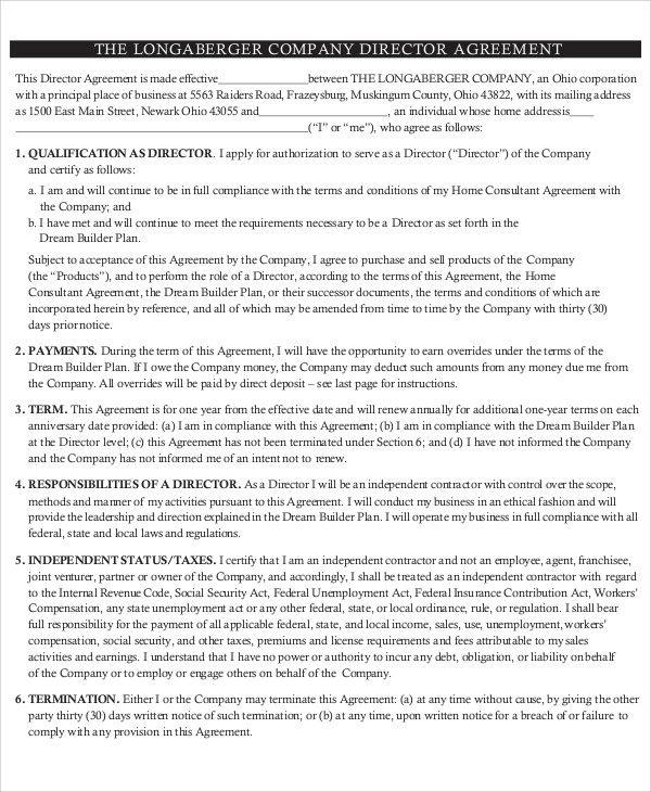 company director agreement