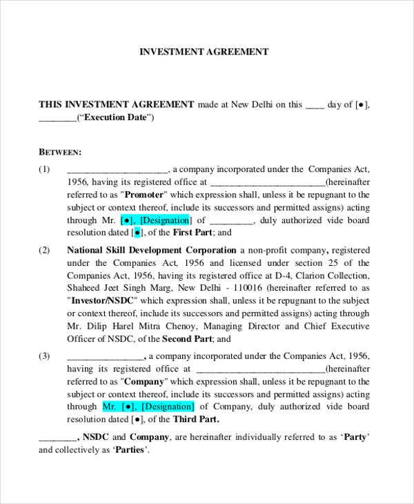 Investment Contract Templates  Free Sample Example Format