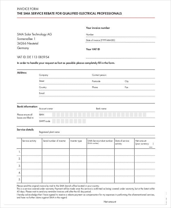 4 Electrical Invoice Templates Free Sample Example Format