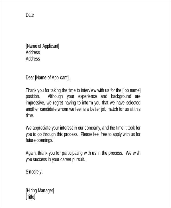 36 Rejection Letter Pdf Free Premium Templates