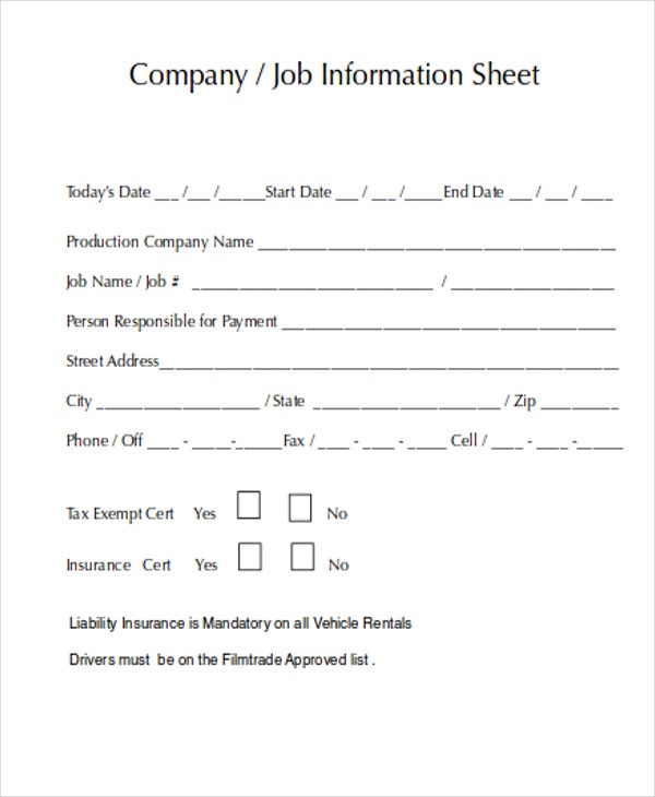 Job Sheet Templates Prepossessing 8 Job Sheet Templates  Free Samples Examples Format Download .