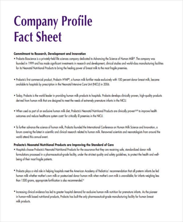 company profile fact sheet