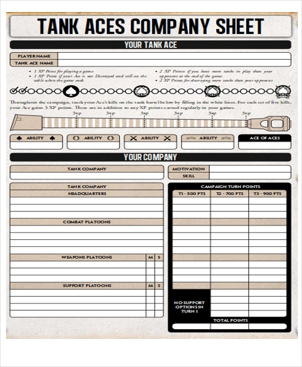 company sheet sample