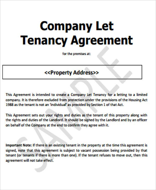Tenancy Agreement Templates
