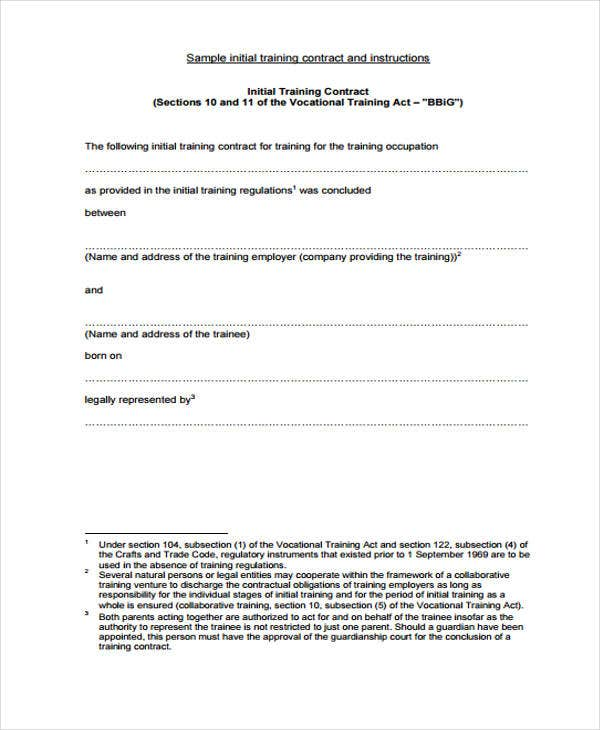 42 sample contract templates free premium templates for Apprenticeship contract template