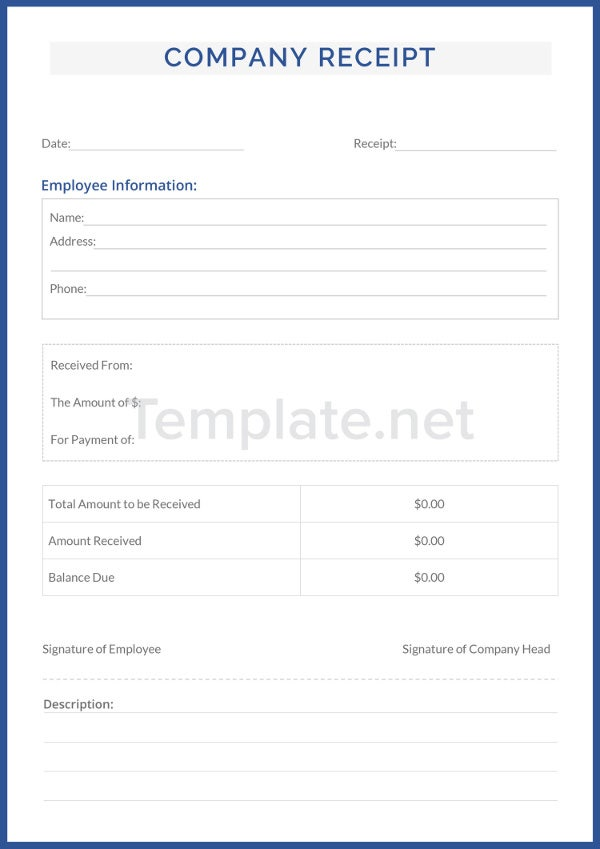 Company Receipt Templates