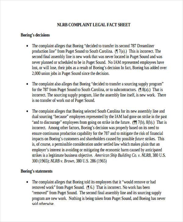 complaint legal fact sheet