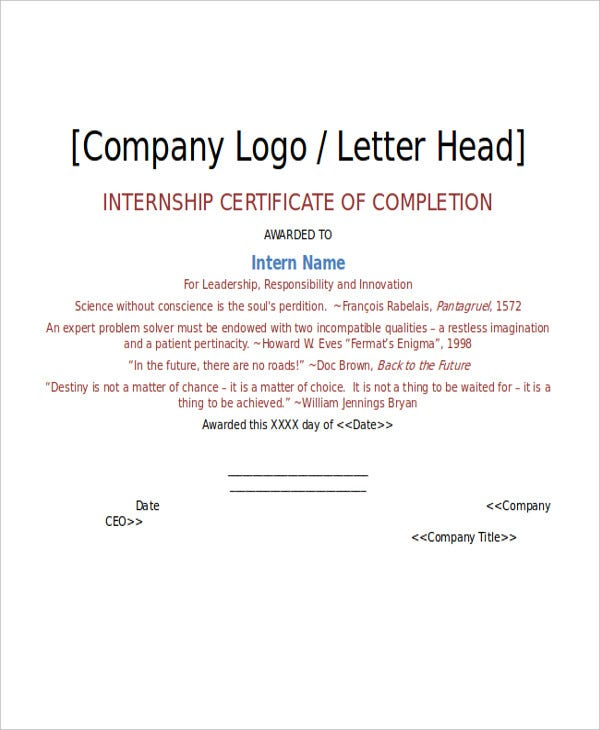 completion certificate for internship