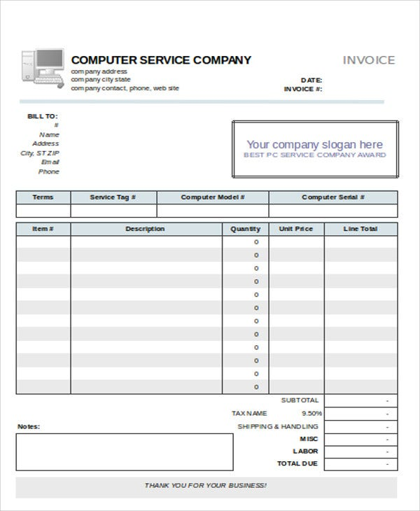 Computer Maintenance  Invoice Models