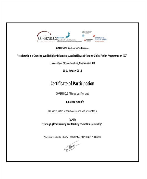 conference certificate of participation template