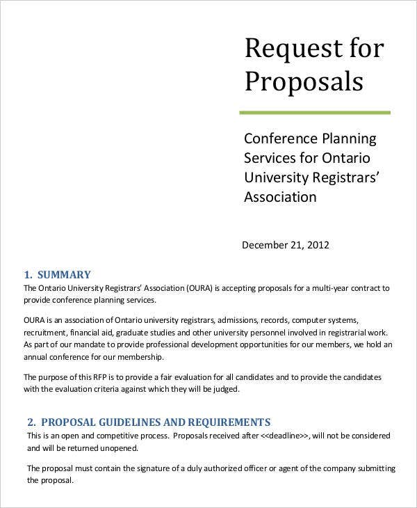 Request For Proposal Templates  Free Sample Example Format