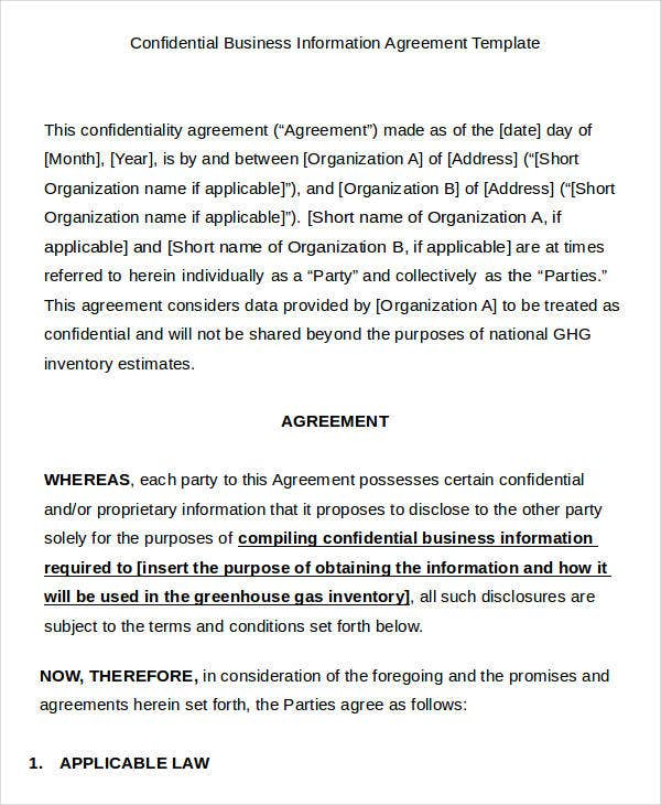 Business Agreement Templates  Samples Examples Format