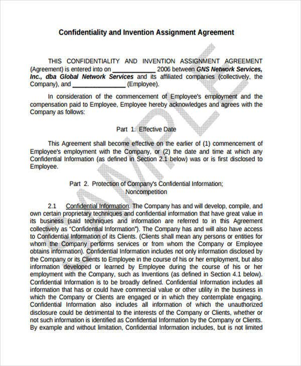 Invention Agreement Templates 10 Free Word Pdf Format Download
