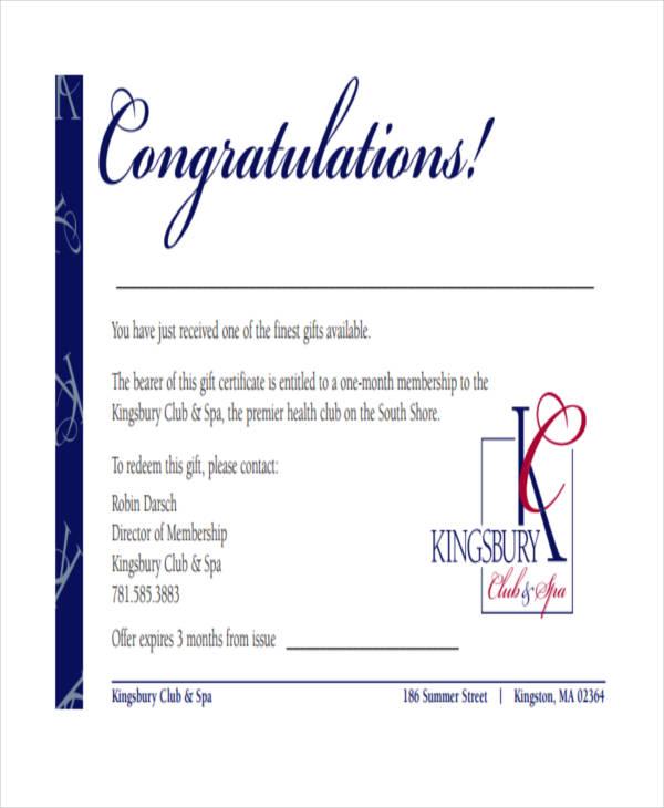 congratulations gift certificate