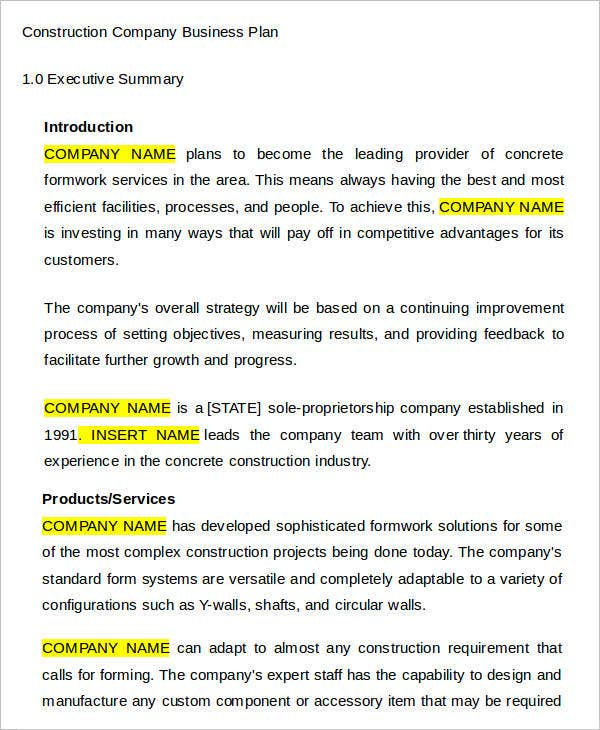 Roofing proposal templates insssrenterprisesco sample business plan free business plan templates free premium templates construction company business plan template saigontimesfo