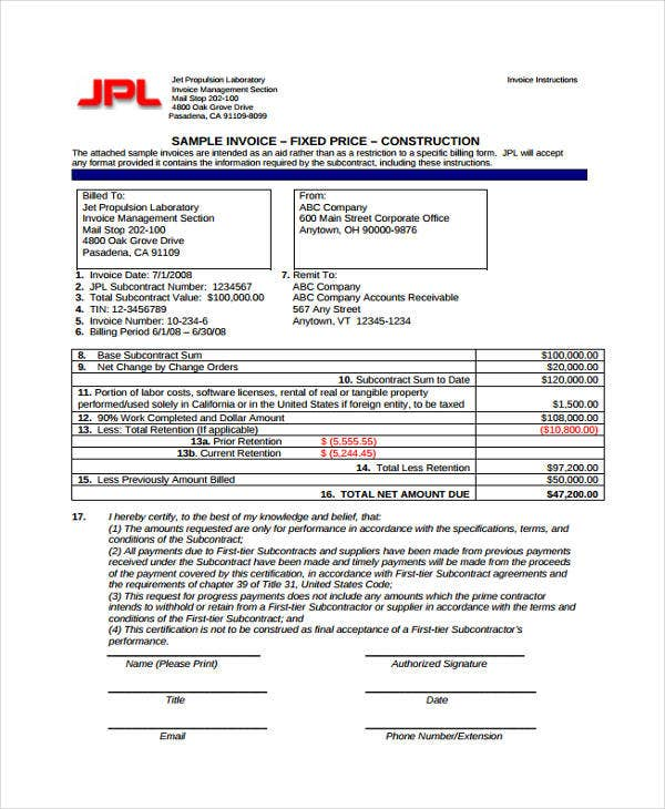 construction company invoice