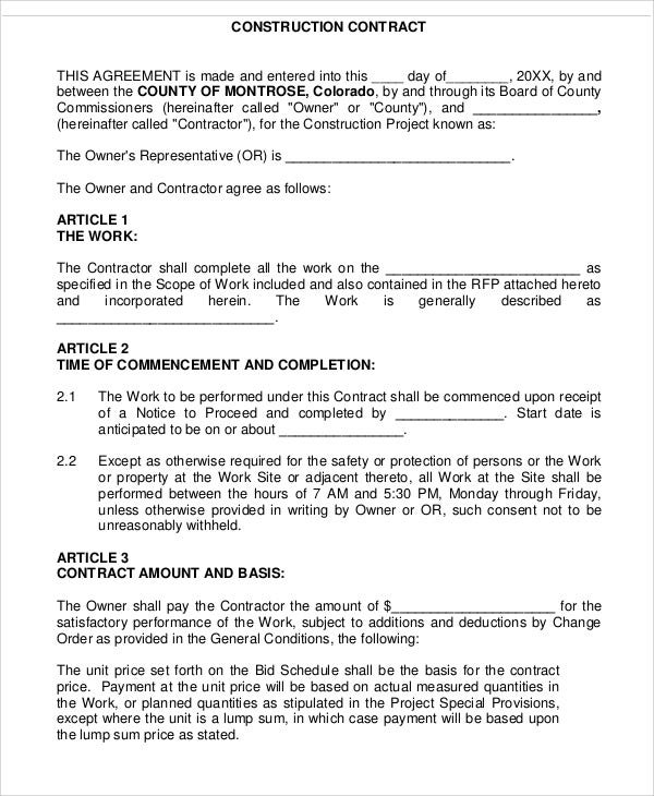 Construction Contract  Commercial Construction Contract Template