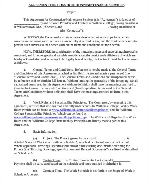 Construction Agreement Templates   Pdf Format Download  Free