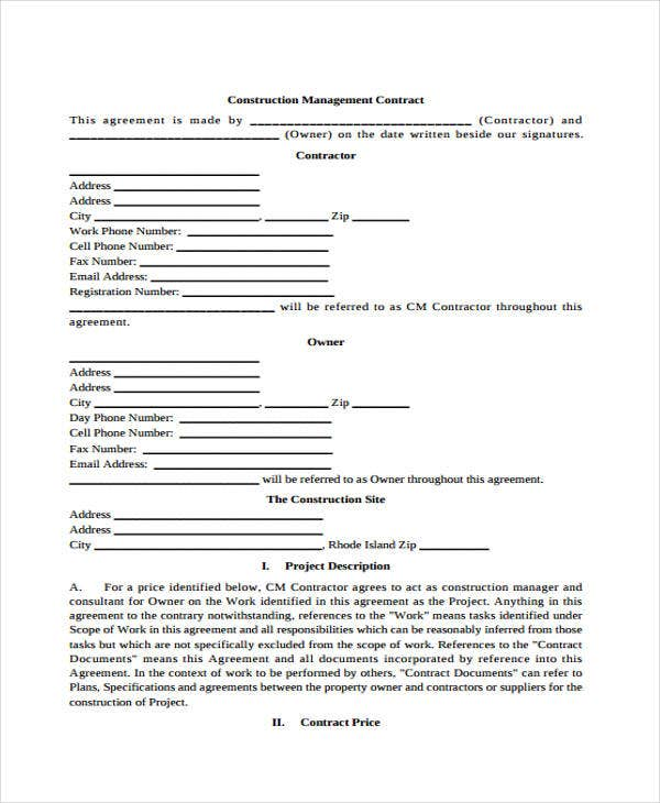 Management Contract Templates  Free Sample Example Format