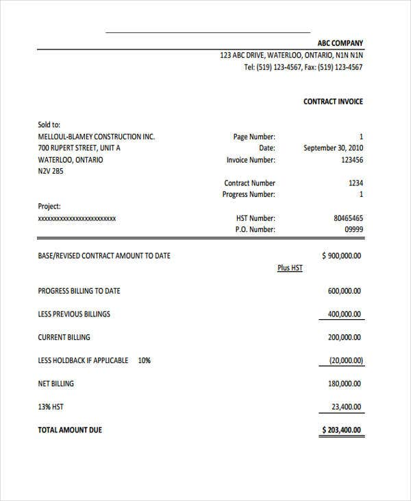Construction Invoice Template. Construction Progress Payment  Pay Invoice Template