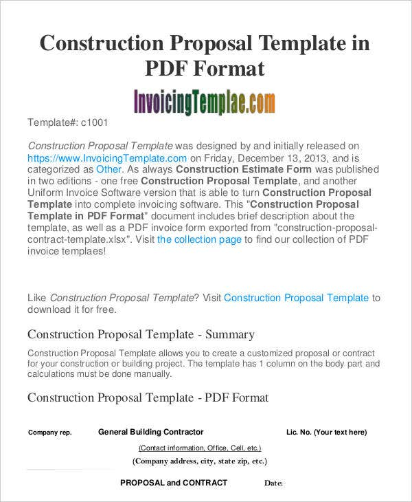 Construction Business Proposal Templates   Free Word Pdf