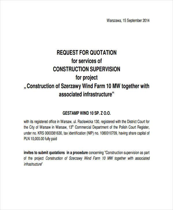 Construction Quotation Templates   Free Word Pdf Format
