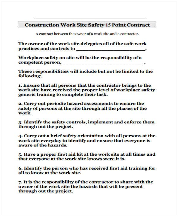Safety contract templates 9 free word pdf format for Contractor safety plan template