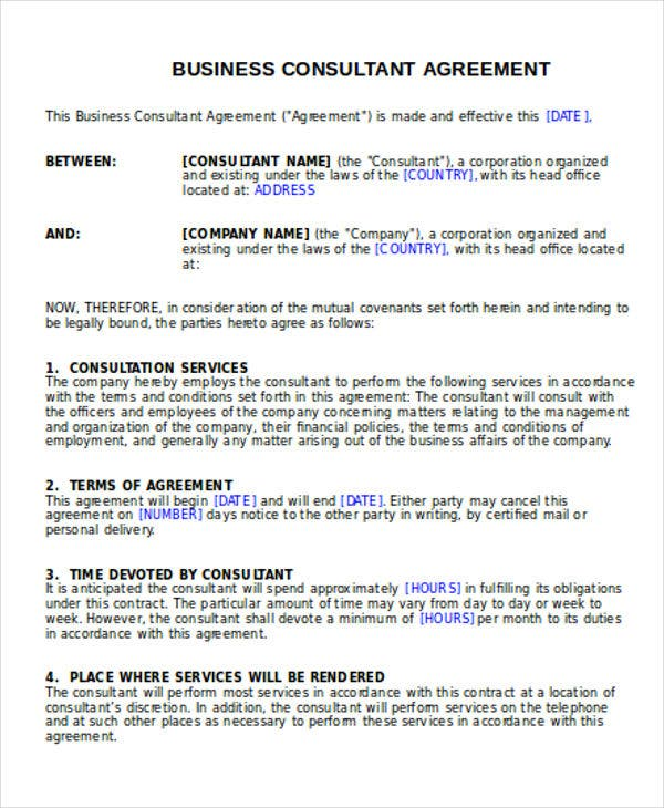Business agreement templates 10 free word pdf format download consultant agreement cheaphphosting Image collections