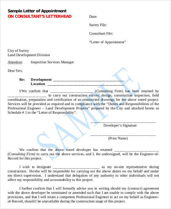 Official Appointment Letter Templates   Free Word Pdf Format