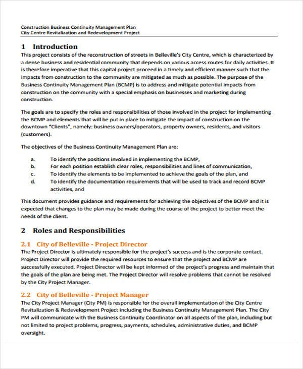 Construction Business Proposal Templates Free Sample Example - Business continuity plan template for construction company