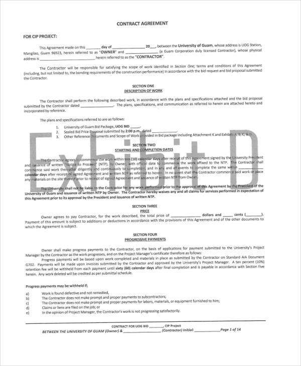 10 Project Contract Templates Sample Examples – Project Contract Template
