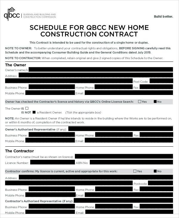 contract schedule