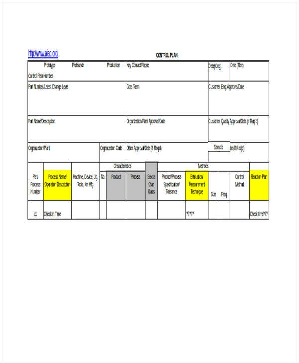 control plan sample