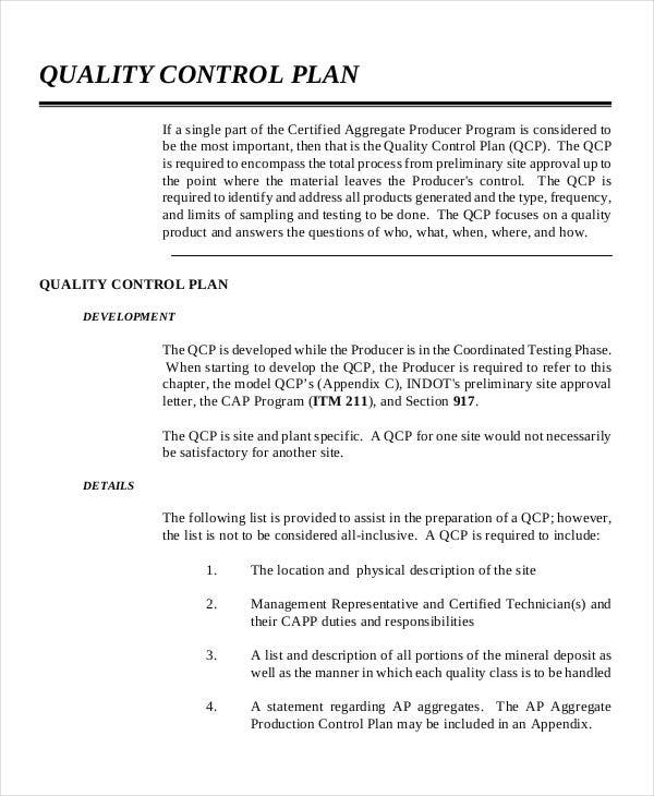 control plan for quality