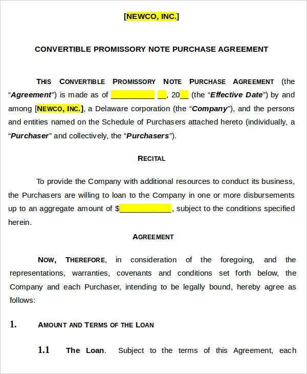 5+ Note Agreement Templates - Free Sample, Example Format Download ...