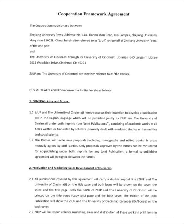 9 Framework Agreement Templates Free Sample Example Format