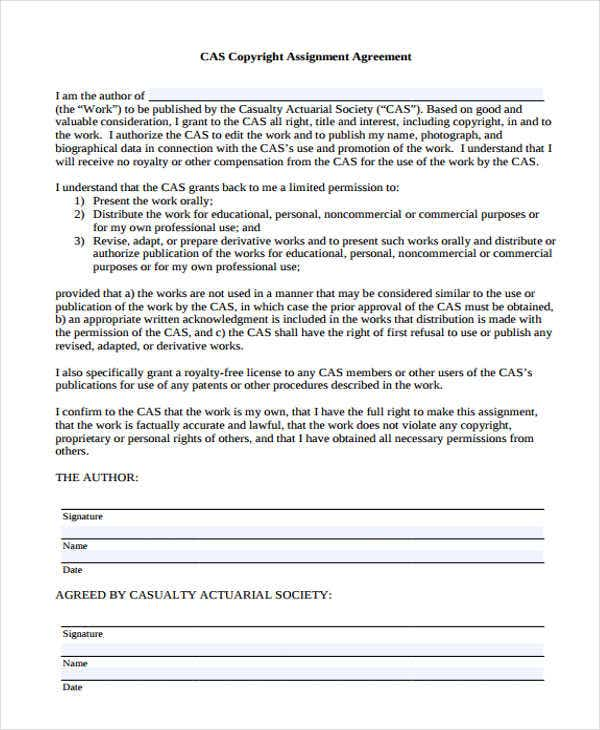 Assignment agreement templates 11 free samples for Copyright contract template free