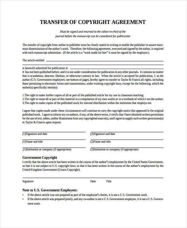 9 transfer agreement templates free sample example for Copyright contract template free