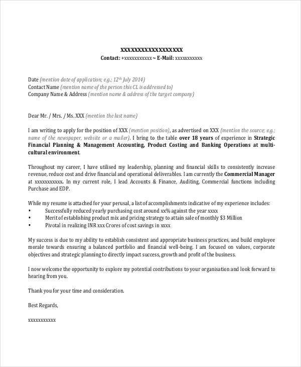 Banking Cover Letter Templates  Sample Example  Free