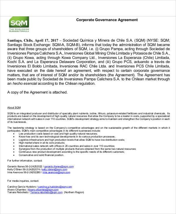 corporate governance agreement