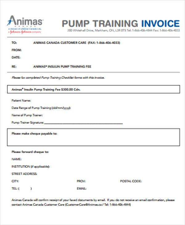 8  training invoice templates