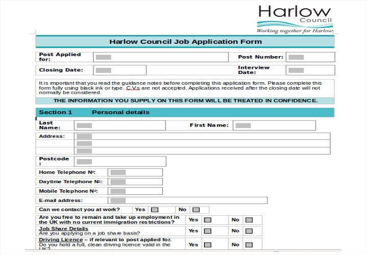 council job application form